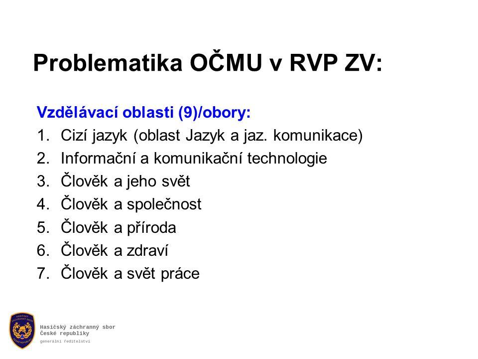 Problematika OČMU v RVP ZV: Vzdělávací oblasti (9)/obory: 1.Cizí jazyk (oblast Jazyk a jaz.