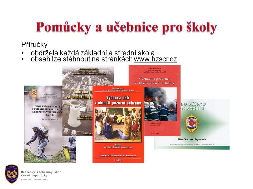 Příručky •obdržela každá základní a střední škola •obsah lze stáhnout na stránkách www.hzscr.cz