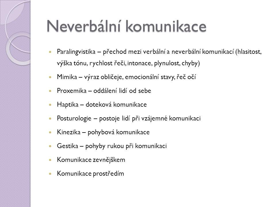 Neverbální komunikace  Paralingvistika – přechod mezi verbální a neverbální komunikací (hlasitost, výška tónu, rychlost řeči, intonace, plynulost, ch