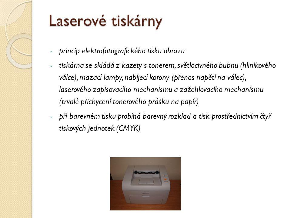 Laserové tiskárny - princip elektrofotografického tisku obrazu - tiskárna se skládá z kazety s tonerem, světlocivného bubnu (hliníkového válce), mazac