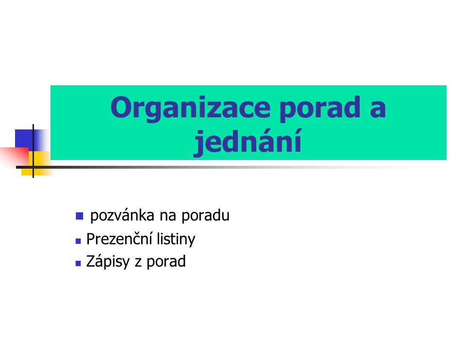 Organizace porad a jednání  pozvánka na poradu  Prezenční listiny  Zápisy z porad