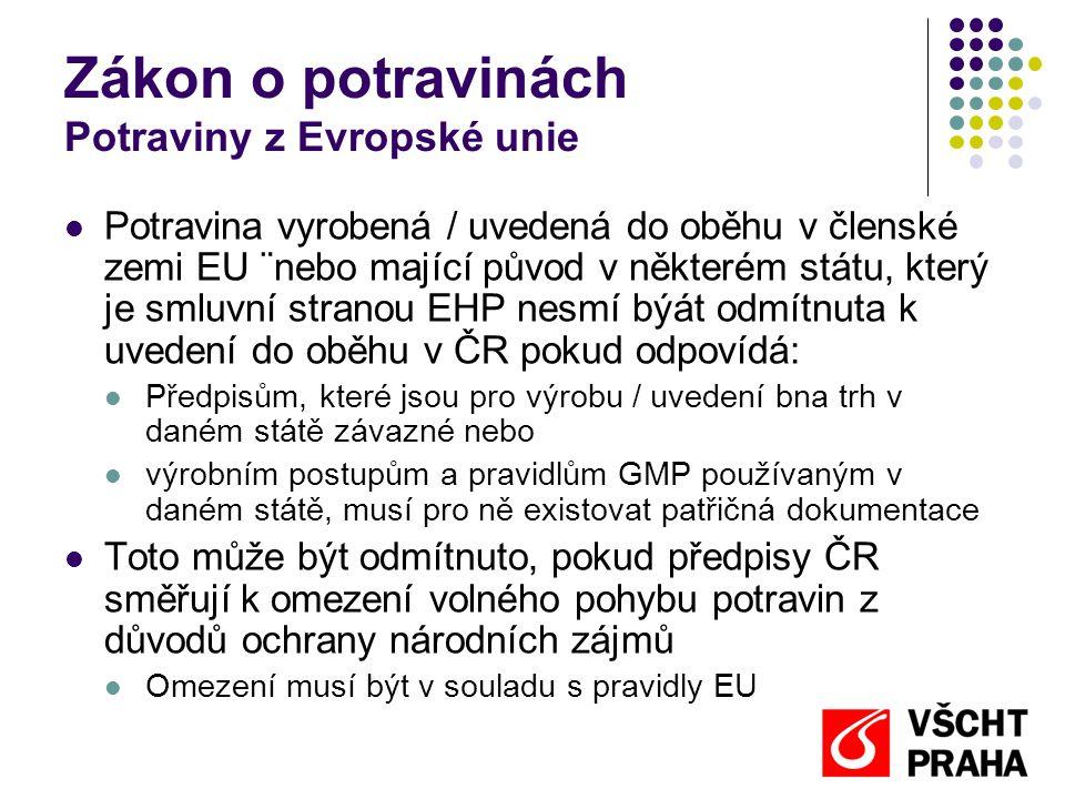 Zákon o potravinách Potraviny z Evropské unie  Potravina vyrobená / uvedená do oběhu v členské zemi EU ¨nebo mající původ v některém státu, který je