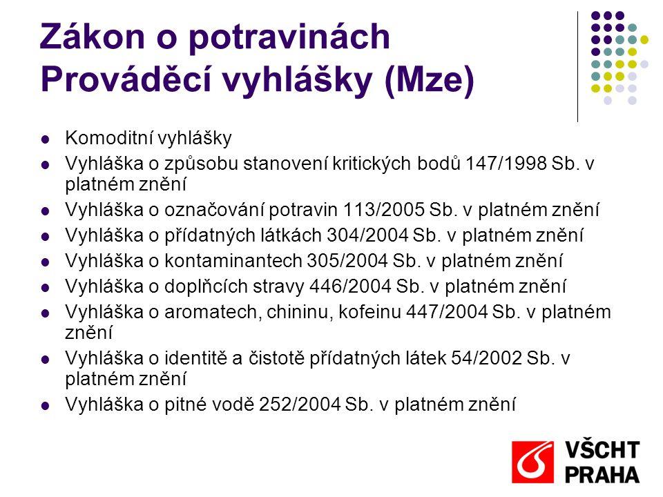 Zákon o potravinách Prováděcí vyhlášky (Mze)  Komoditní vyhlášky  Vyhláška o způsobu stanovení kritických bodů 147/1998 Sb. v platném znění  Vyhláš