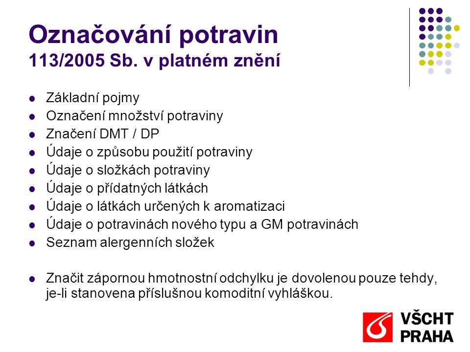 Označování potravin 113/2005 Sb. v platném znění  Základní pojmy  Označení množství potraviny  Značení DMT / DP  Údaje o způsobu použití potraviny