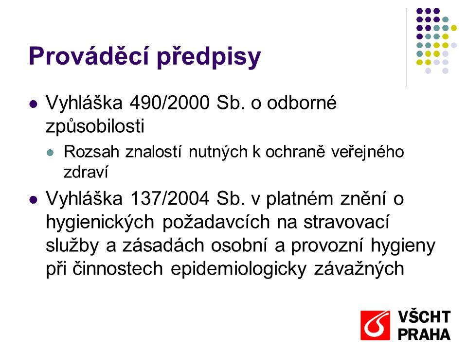 Prováděcí předpisy  Vyhláška 490/2000 Sb. o odborné způsobilosti  Rozsah znalostí nutných k ochraně veřejného zdraví  Vyhláška 137/2004 Sb. v platn