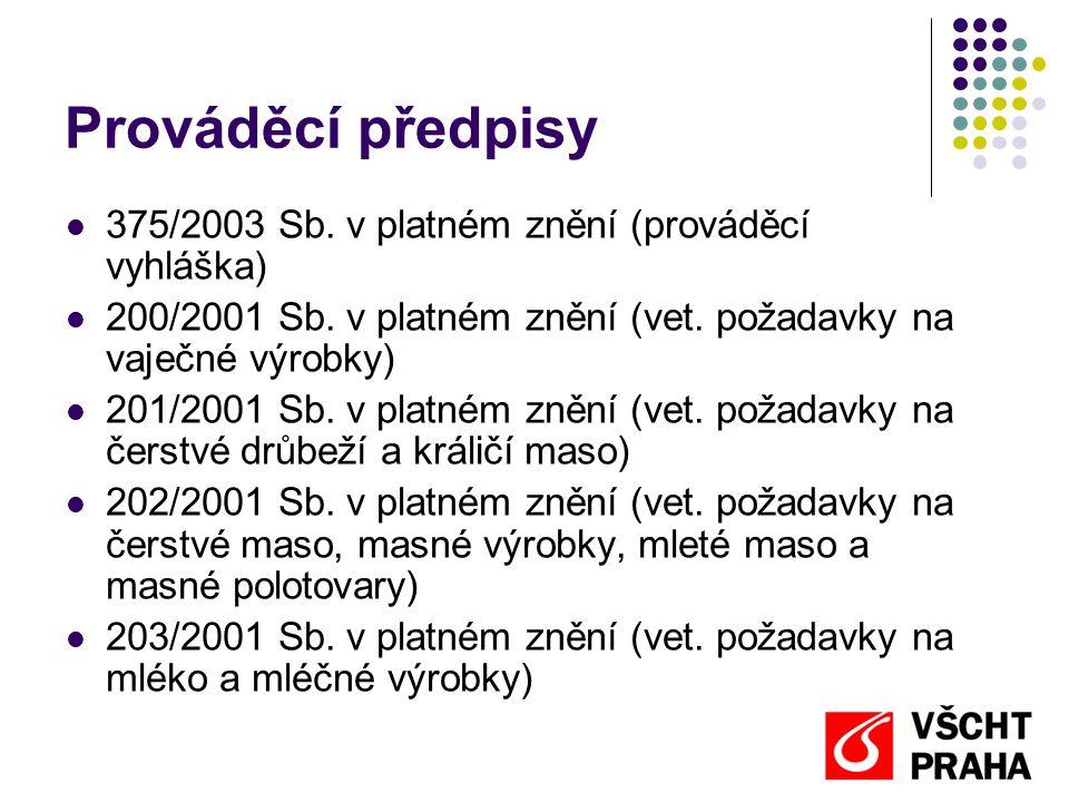 Prováděcí předpisy  375/2003 Sb. v platném znění (prováděcí vyhláška)  200/2001 Sb. v platném znění (vet. požadavky na vaječné výrobky)  201/2001 S