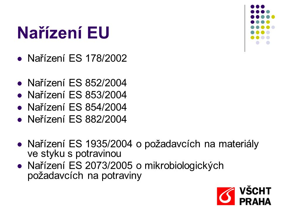 Nařízení EU  Nařízení ES 178/2002  Nařízení ES 852/2004  Nařízení ES 853/2004  Nařízení ES 854/2004  Neřízení ES 882/2004  Nařízení ES 1935/2004