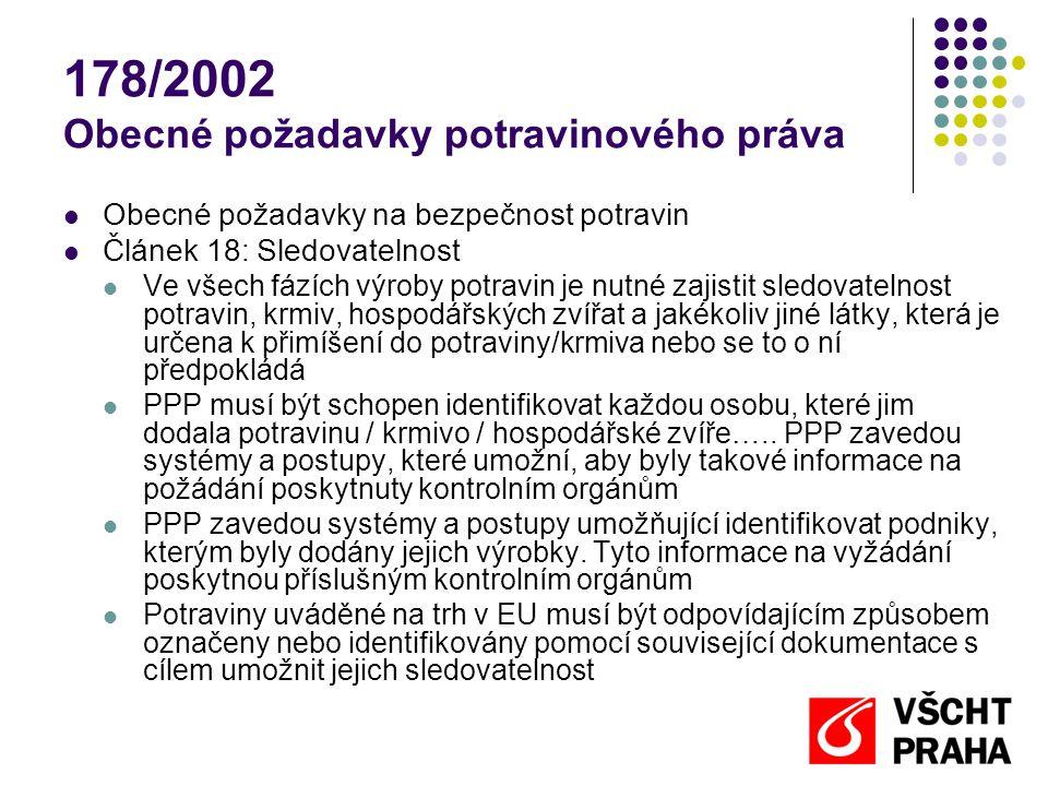 178/2002 Obecné požadavky potravinového práva  Obecné požadavky na bezpečnost potravin  Článek 18: Sledovatelnost  Ve všech fázích výroby potravin