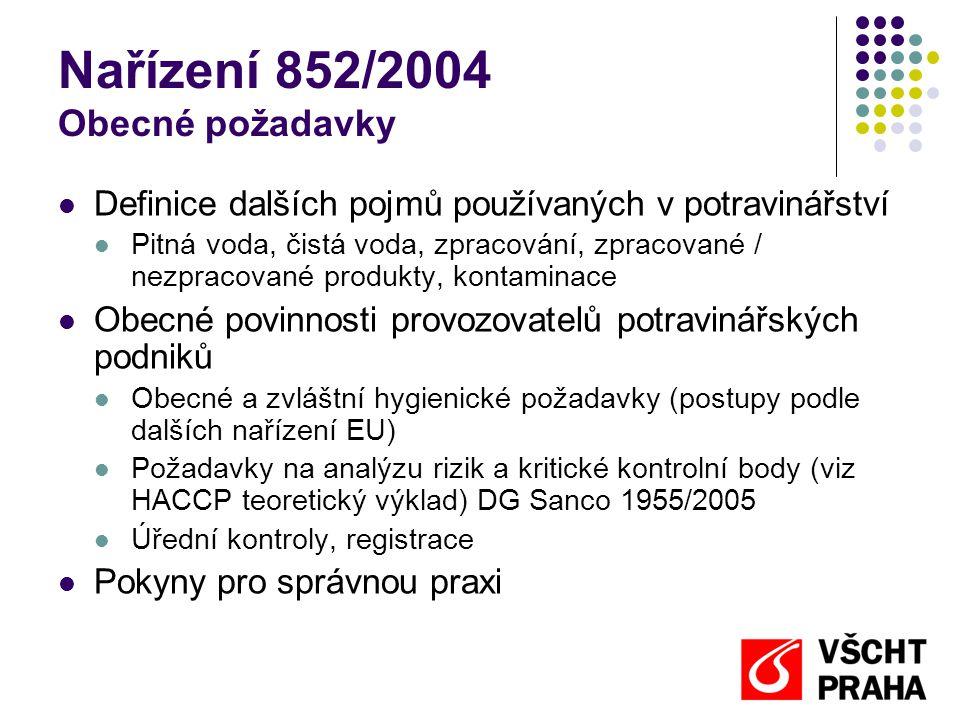Nařízení 852/2004 Obecné požadavky  Definice dalších pojmů používaných v potravinářství  Pitná voda, čistá voda, zpracování, zpracované / nezpracova