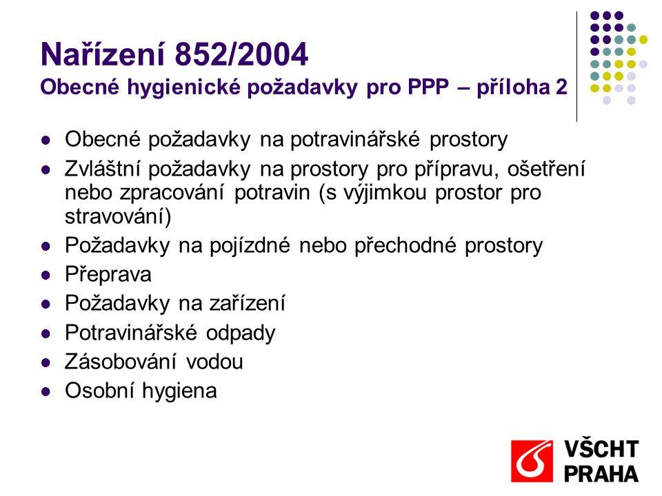 Nařízení 852/2004 Obecné hygienické požadavky pro PPP – příloha 2  Obecné požadavky na potravinářské prostory  Zvláštní požadavky na prostory pro př