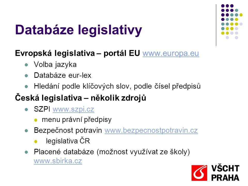 Databáze legislativy Evropská legislativa – portál EU www.europa.euwww.europa.eu  Volba jazyka  Databáze eur-lex  Hledání podle klíčových slov, pod