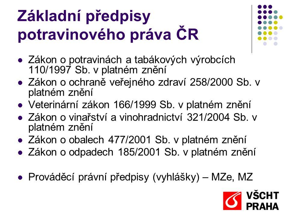 Základní předpisy potravinového práva ČR  Zákon o potravinách a tabákových výrobcích 110/1997 Sb. v platném znění  Zákon o ochraně veřejného zdraví