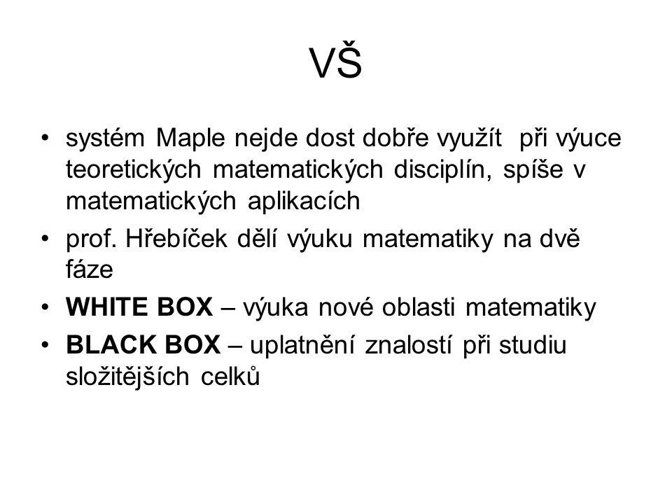 VŠ •systém Maple nejde dost dobře využít při výuce teoretických matematických disciplín, spíše v matematických aplikacích •prof. Hřebíček dělí výuku m