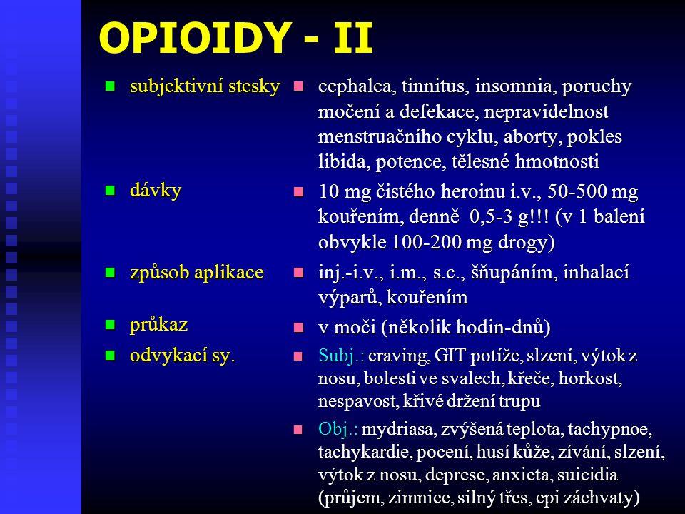 OPIOIDY - II  subjektivní stesky  dávky  způsob aplikace  průkaz  odvykací sy.  cephalea, tinnitus, insomnia, poruchy močení a defekace, nepravi