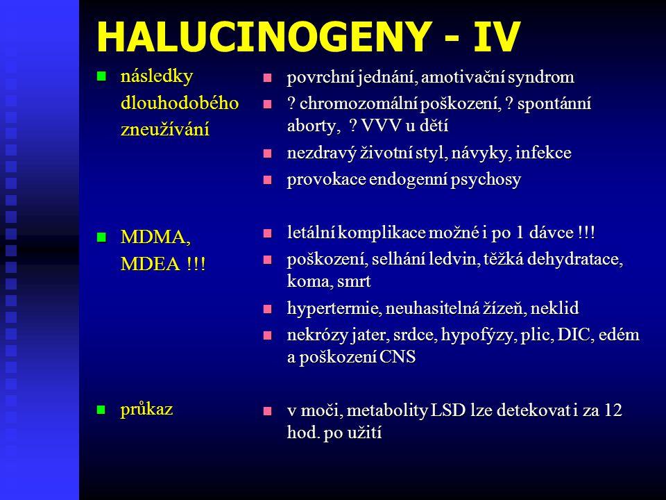 HALUCINOGENY - IV  následky dlouhodobéhozneužívání  MDMA, MDEA !!!  průkaz  povrchní jednání, amotivační syndrom  ? chromozomální poškození, ? sp