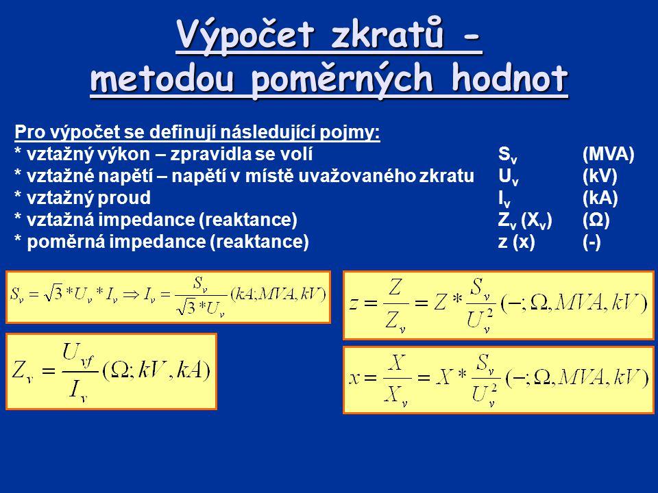 Výpočet zkratů - metodou poměrných hodnot Pro výpočet se definují následující pojmy: * vztažný výkon – zpravidla se volíS v (MVA) * vztažné napětí – n