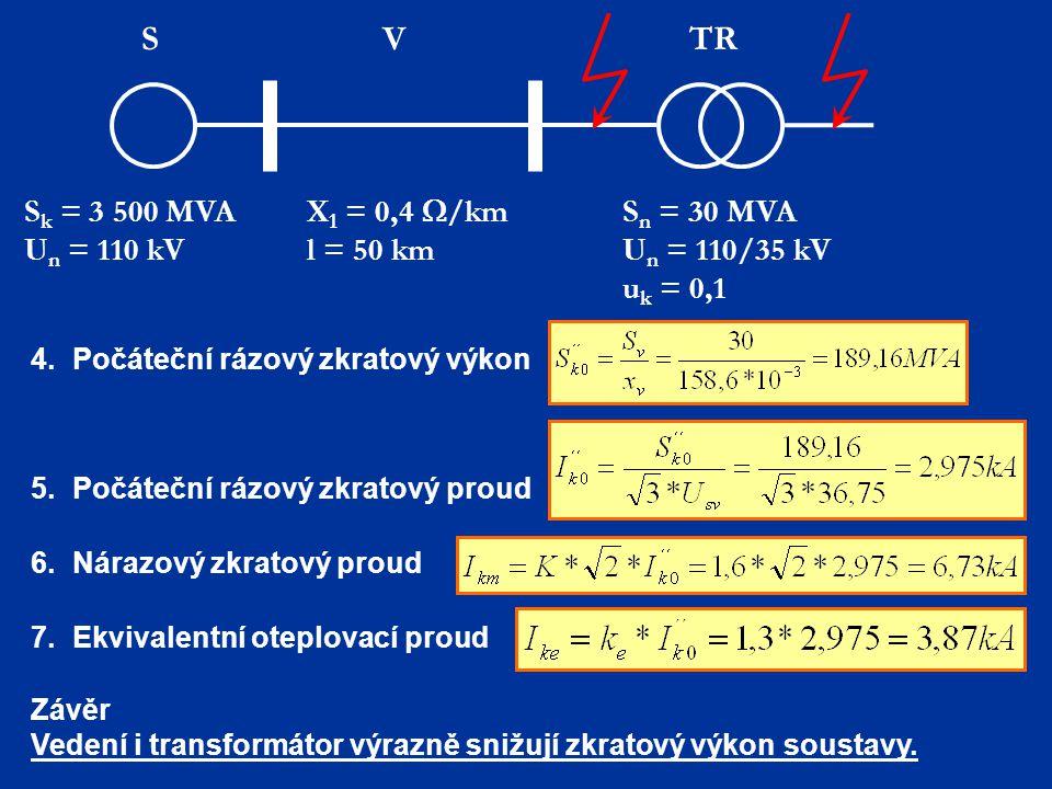 S k = 3 500 MVA U n = 110 kV X 1 = 0,4  /km l = 50 km S n = 30 MVA U n = 110/35 kV u k = 0,1 TR VS 4.Počáteční rázový zkratový výkon 5.Počáteční rázo
