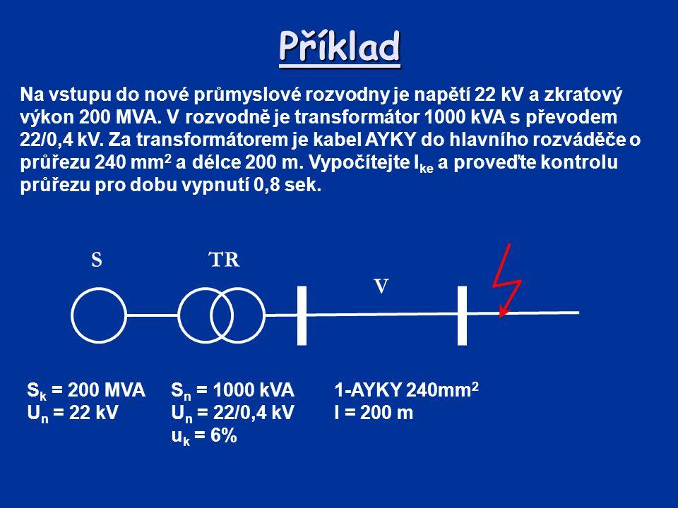 Příklad Na vstupu do nové průmyslové rozvodny je napětí 22 kV a zkratový výkon 200 MVA. V rozvodně je transformátor 1000 kVA s převodem 22/0,4 kV. Za
