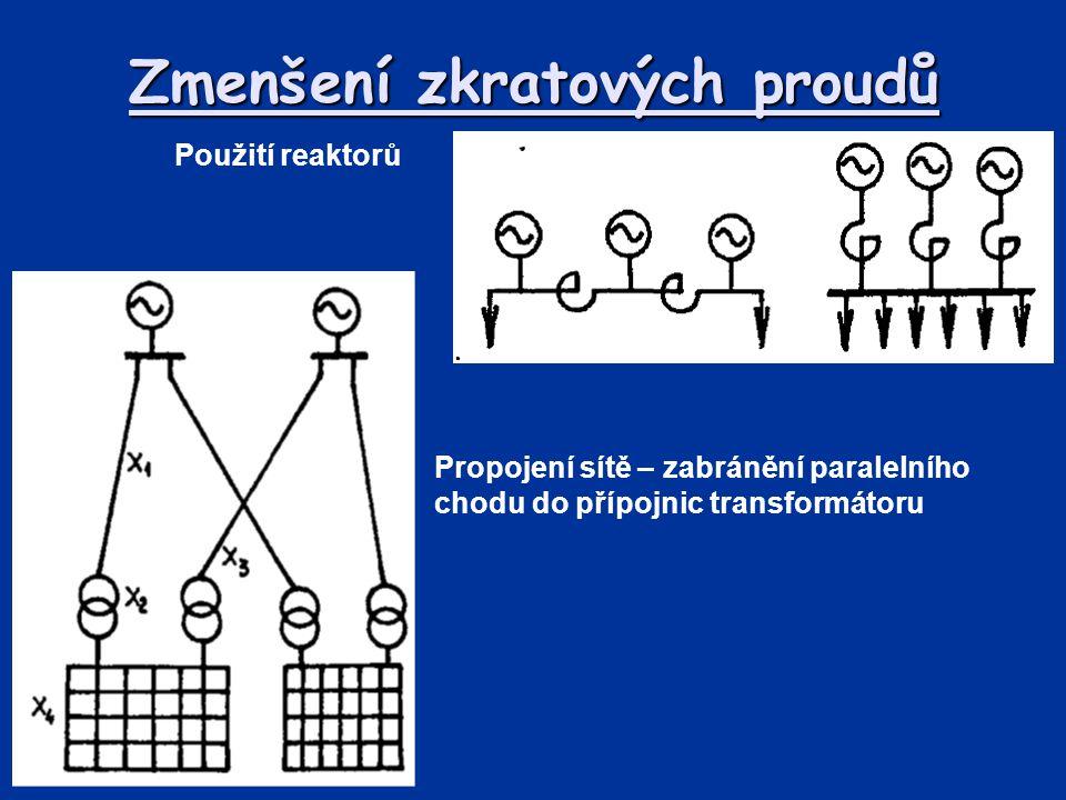 Zmenšení zkratových proudů Použití reaktorů Propojení sítě – zabránění paralelního chodu do přípojnic transformátoru