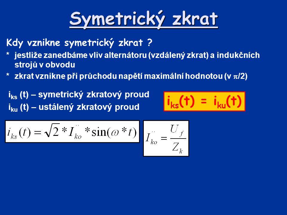 Symetrický zkrat Kdy vznikne symetrický zkrat ? *jestliže zanedbáme vliv alternátoru (vzdálený zkrat) a indukčních strojů v obvodu *zkrat vznikne při