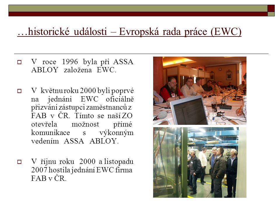 …historické události – Evropská rada práce (EWC)  V roce 1996 byla při ASSA ABLOY založena EWC.  V květnu roku 2000 byli poprvé na jednáni EWC ofici