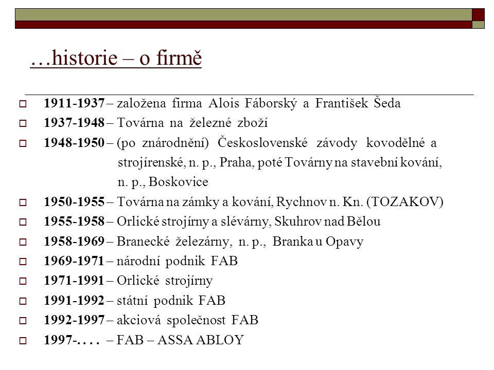 …historie – o firmě  1911-1937 – založena firma Alois Fáborský a František Šeda  1937-1948 – Továrna na železné zboží  1948-1950 – (po znárodnění) Československé závody kovodělné a strojírenské, n.
