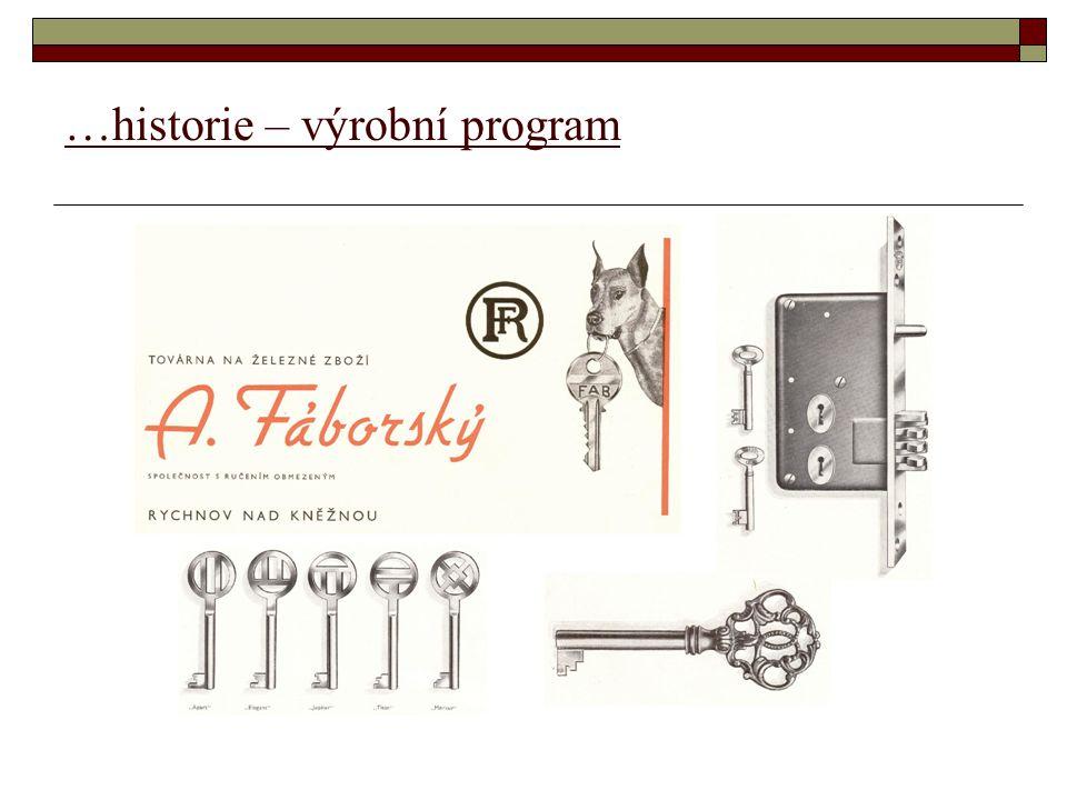 …historie – výrobní program