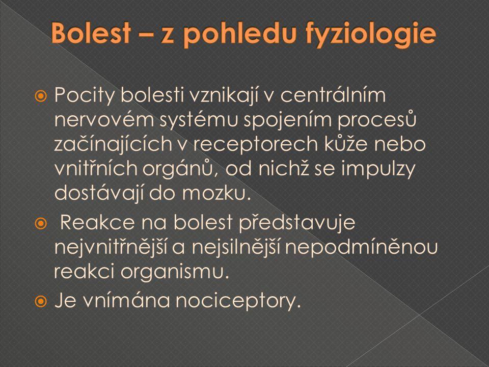  Z fyziologického hlediska je základní funkcí bolesti pouze upozornit na to, že došlo k poškození organizmu.