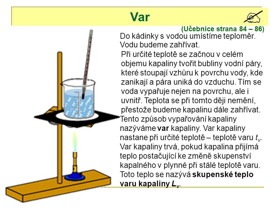 (Učebnice strana 84 – 86) Var Do kádinky s vodou umístíme teploměr. Vodu budeme zahřívat. Při určité teplotě se začnou v celém objemu kapaliny tvořit