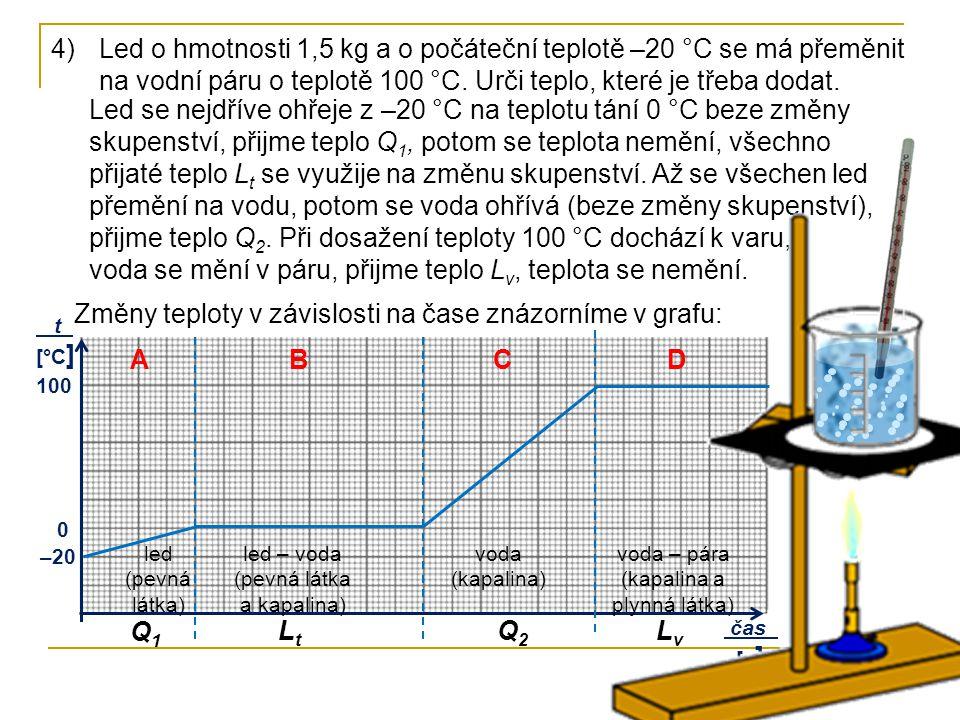Led se nejdříve ohřeje z –20 °C na teplotu tání 0 °C beze změny skupenství, přijme teplo Q 1, potom se teplota nemění, všechno přijaté teplo L t se využije na změnu skupenství.