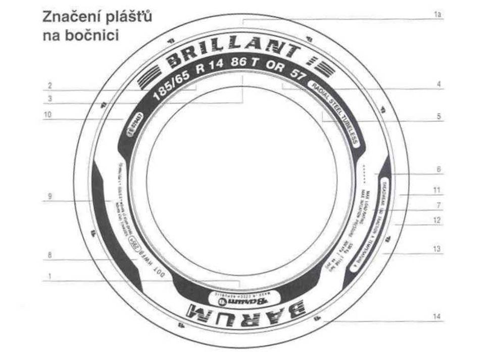 Značení plášťů na bočnici 1ochranná značka BARUM, název výrobce a jeho sídlo 1aobchodní značení výrobku 2označení rozměru pláště 386 =index nosnosti, T = kategorie rychlosti 4označení dezénu pláště 5RADIAL – plášť s radiální konstrukcí pláště, STEEL – nárazník z ocelového kordu, TUBELESS – bezdušové provedení pláště (TUBE TYPE – s duší) 6T1 – ozn.