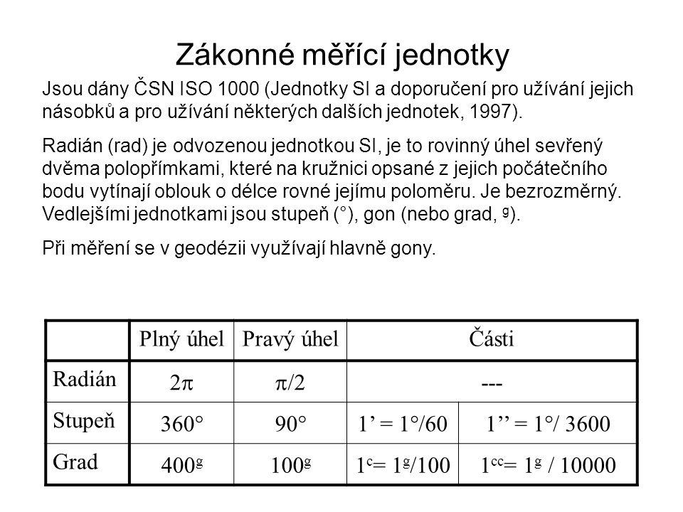 Postup při měření zenitového úhlu Pokud teodolit nemá indexovou chybu, pak z 1 + z 2 = 400 g Pokud přístroj indexovou chybu má, jsou jí zatížena čtení v obou polohách dalekohledu a platí: z 1 + z 2 = 400 g + 2i a správný zenitový úhel je: z = z 1 – i