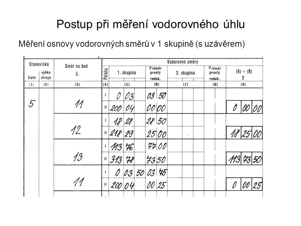 Postup při měření vodorovného úhlu Měření osnovy vodorovných směrů v 1 skupině (s uzávěrem)