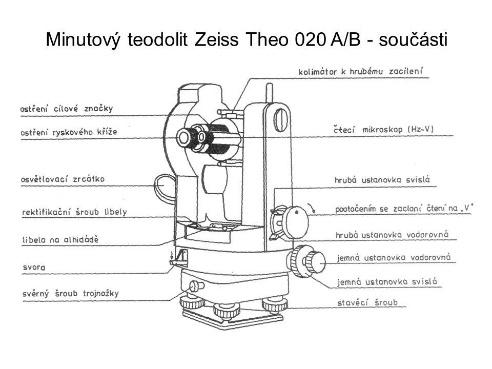 Čtení na teodolitu – odhadová stupnice (mřížka) Čtení se provádí na jednom místě kruhu, v zorném poli mikroskopu je obraz stupnice a mřížka.