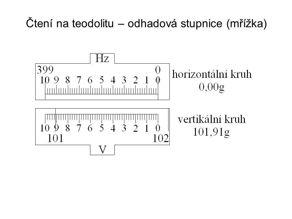 Postup při měření vodorovného úhlu Měření vodorovného úhlu v 1 skupině Postup: 1.