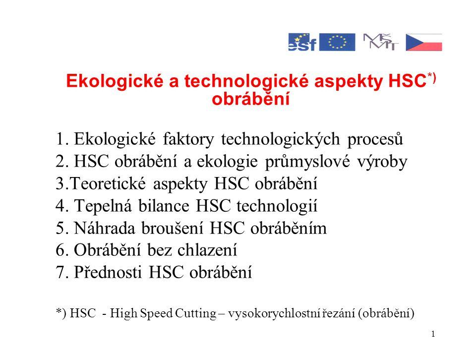 1 Ekologické a technologické aspekty HSC *) obrábění 1.
