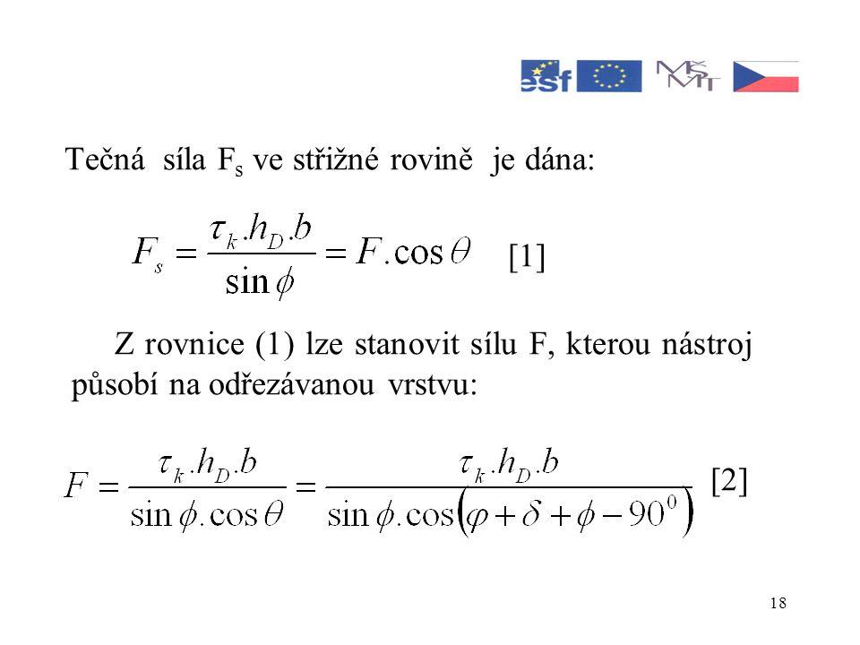 18 Tečná síla F s ve střižné rovině je dána: [1] Z rovnice (1) lze stanovit sílu F, kterou nástroj působí na odřezávanou vrstvu: [2]