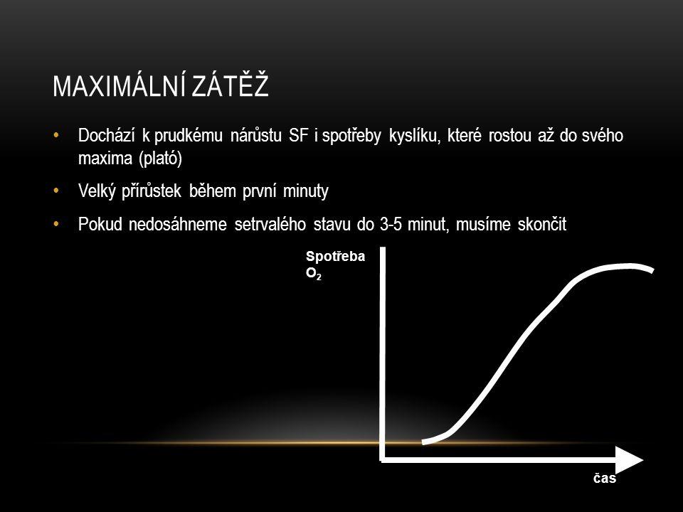 MAXIMÁLNÍ ZÁTĚŽ • Dochází k prudkému nárůstu SF i spotřeby kyslíku, které rostou až do svého maxima (plató) • Velký přírůstek během první minuty • Pok