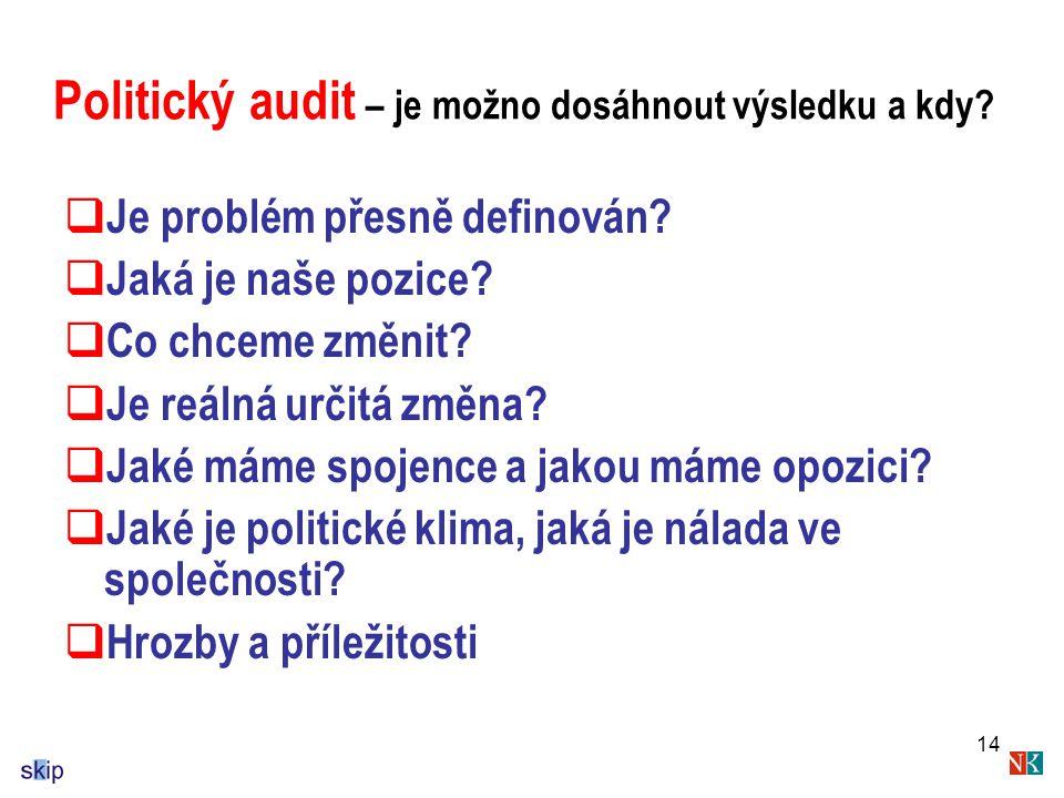 14 Politický audit – je možno dosáhnout výsledku a kdy.