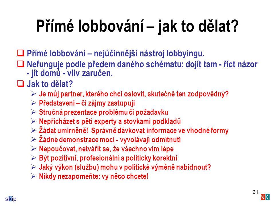 21 Přímé lobbování – jak to dělat. Přímé lobbování – nejúčinnější nástroj lobbyingu.