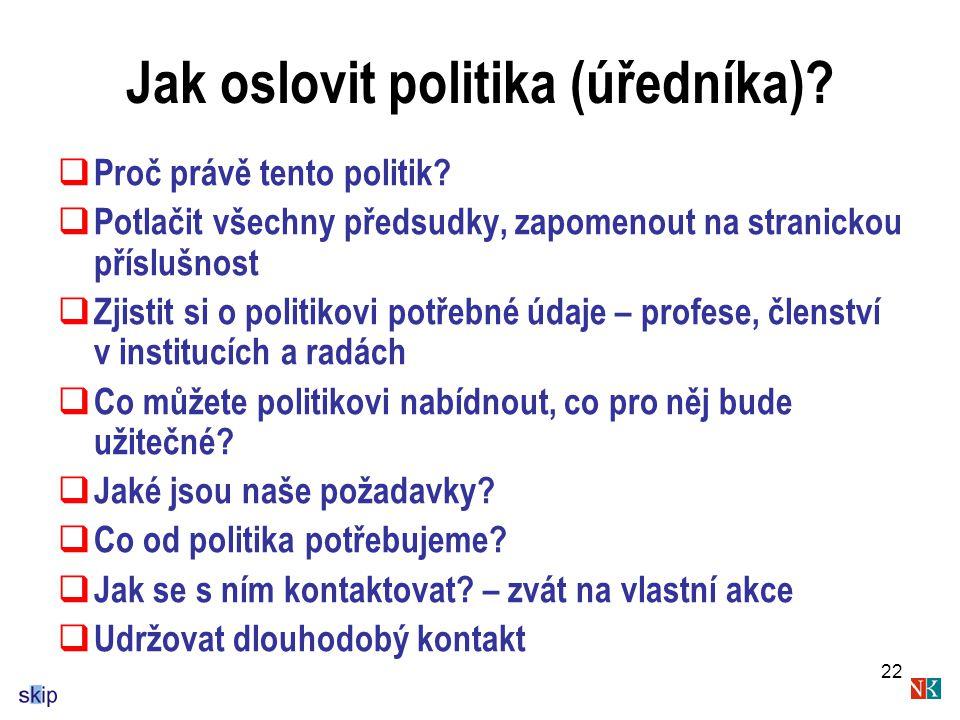 22 Jak oslovit politika (úředníka). Proč právě tento politik.
