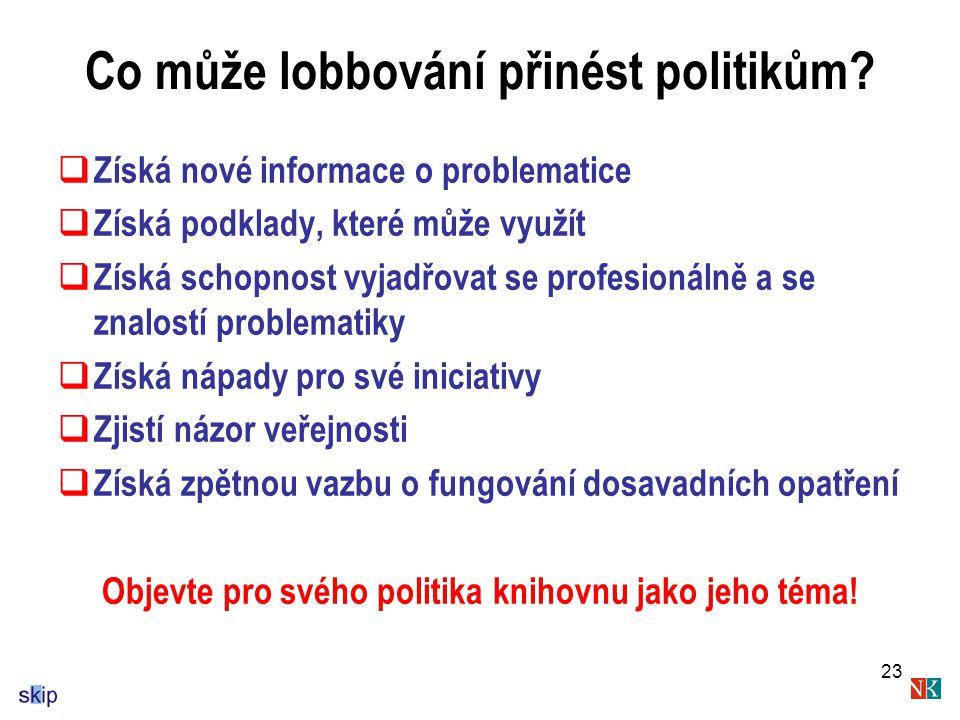 23 Co může lobbování přinést politikům.