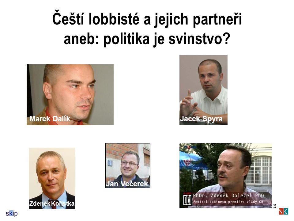 3 Čeští lobbisté a jejich partneři aneb: politika je svinstvo.