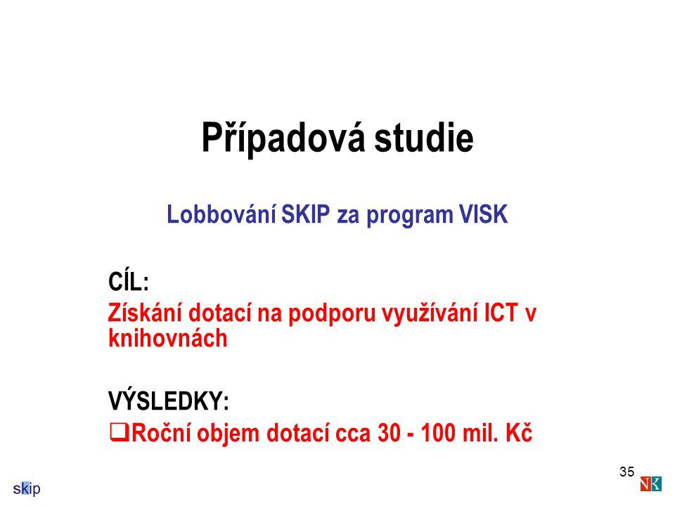 35 Případová studie Lobbování SKIP za program VISK CÍL: Získání dotací na podporu využívání ICT v knihovnách VÝSLEDKY:  Roční objem dotací cca 30 - 100 mil.