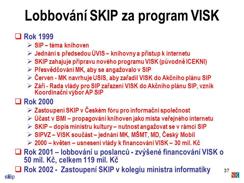 37 Lobbování SKIP za program VISK  Rok 1999  SIP – téma knihoven  Jednání s předsedou ÚVIS – knihovny a přístup k internetu  SKIP zahajuje přípravu nového programu VISK (původně ICEKNI)  Přesvědčování MK, aby se angažovalo v SIP  Červen - MK navrhuje USIS, aby zařadil VISK do Akčního plánu SIP  Září - Rada vlády pro SIP zařazení VISK do Akčního plánu SIP, vznik Koordinační výbor AP SIP  Rok 2000  Zastoupení SKIP v Českém fóru pro informační společnost  Účast v BMI – propagování knihoven jako místa veřejného internetu  SKIP – dopis ministru kultury – nutnost angažovat se v rámci SIP  SIPVZ – VISK součást – jednání MK, MŠMT, MD, Český Mobil  2000 – květen – usnesení vlády k financování VISK – 30 mil.