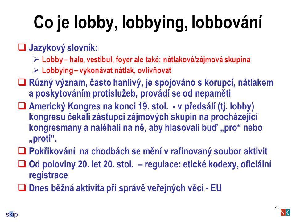 4 Co je lobby, lobbying, lobbování  Jazykový slovník:  Lobby – hala, vestibul, foyer ale také: nátlaková/zájmová skupina  Lobbying – vykonávat nátlak, ovlivňovat  Různý význam, často hanlivý, je spojováno s korupcí, nátlakem a poskytováním protislužeb, provádí se od nepaměti  Americký Kongres na konci 19.
