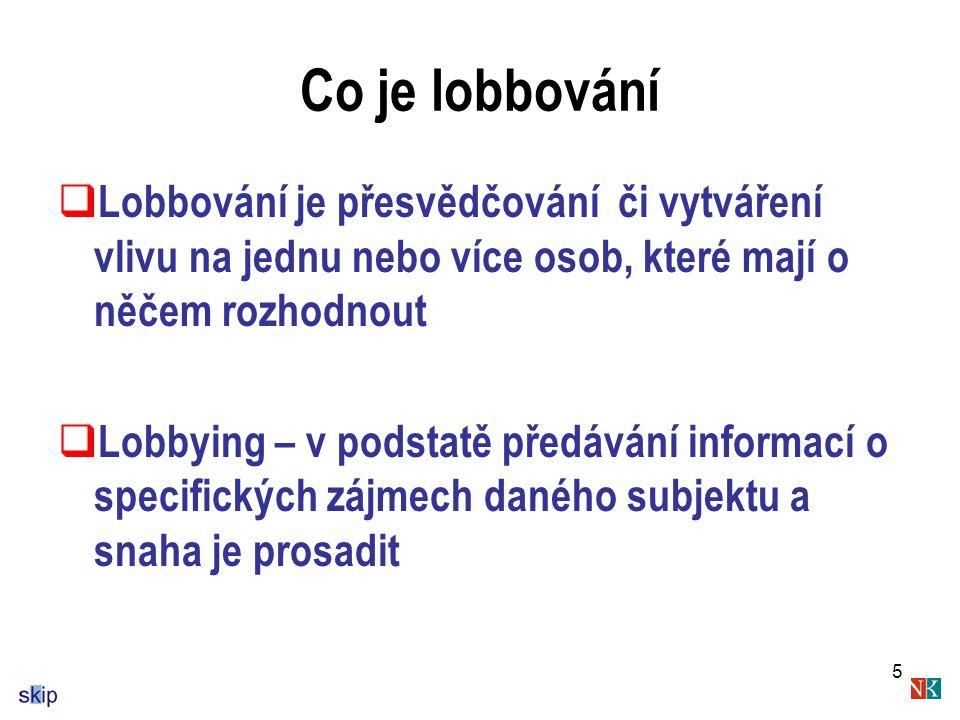 5 Co je lobbování  Lobbování je přesvědčování či vytváření vlivu na jednu nebo více osob, které mají o něčem rozhodnout  Lobbying – v podstatě předávání informací o specifických zájmech daného subjektu a snaha je prosadit