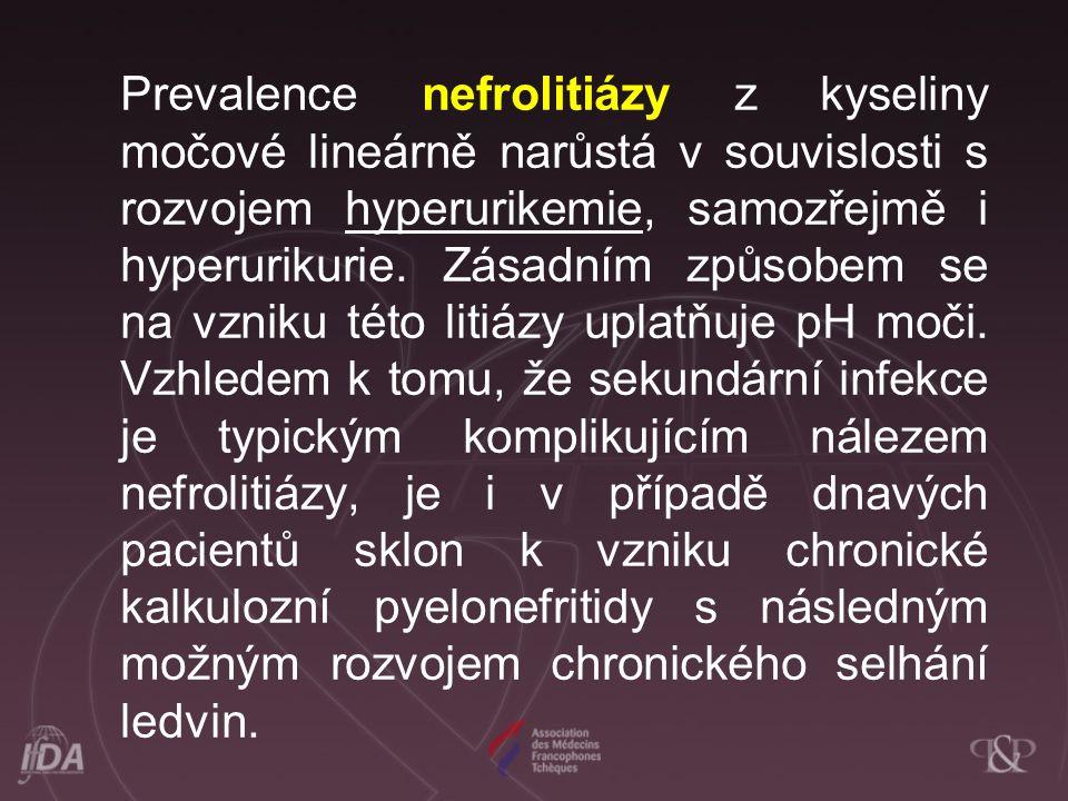 Prevalence nefrolitiázy z kyseliny močové lineárně narůstá v souvislosti s rozvojem hyperurikemie, samozřejmě i hyperurikurie. Zásadním způsobem se na