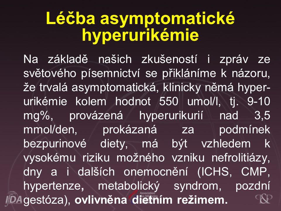 Léčba asymptomatické hyperurikémie Na základě našich zkušeností i zpráv ze světového písemnictví se přikláníme k názoru, že trvalá asymptomatická, kli