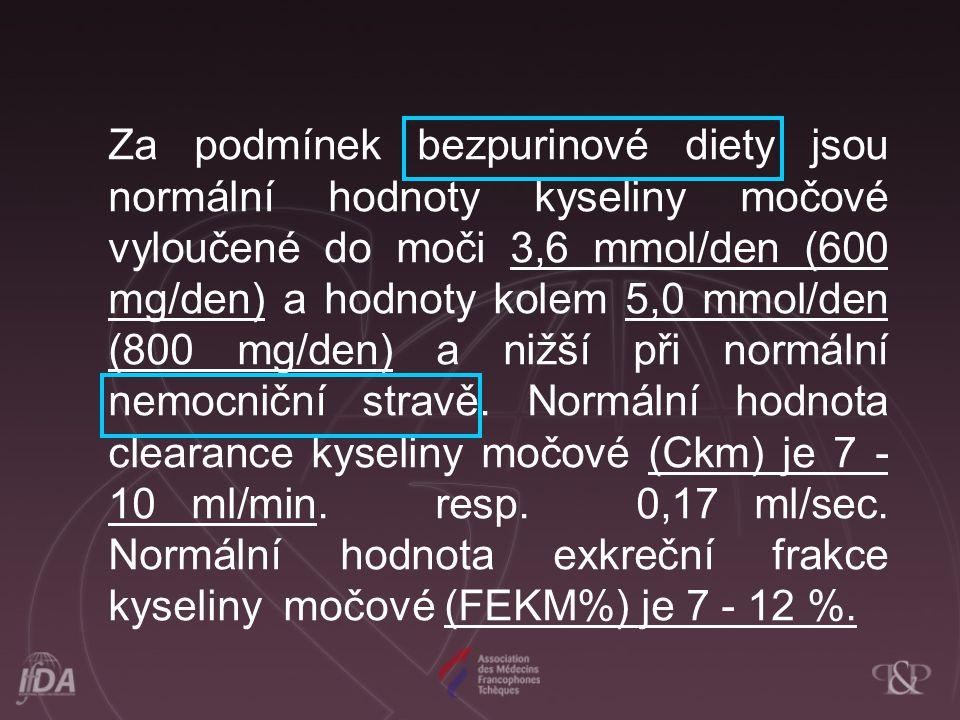Za podmínek bezpurinové diety jsou normální hodnoty kyseliny močové vyloučené do moči 3,6 mmol/den (600 mg/den) a hodnoty kolem 5,0 mmol/den (800 mg/d